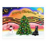 Christmas Music 2 - Scottish Terrier Postcard
