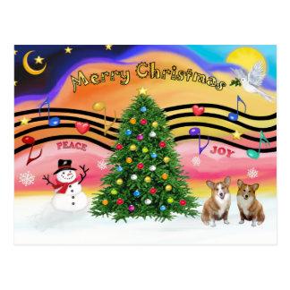 Christmas Music 2 - Welsh Corgi (2 Pembroke) Postcard