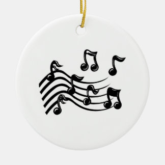 Christmas music notes round ceramic decoration