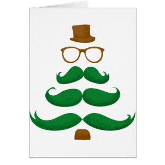 Christmas Mustache Tree Greeting Card