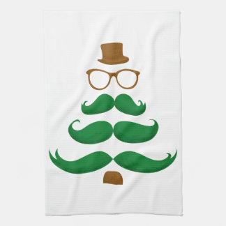 Christmas Mustache Tree Tea Towel