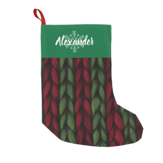 Christmas Name Green and Red Knit Pattern Small Christmas Stocking