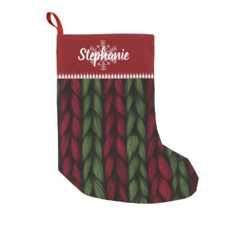Christmas Name Red and Green Knit Pattern Small Christmas Stocking