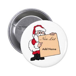 Christmas Name Tag Santa Claus Nice List 6 Cm Round Badge