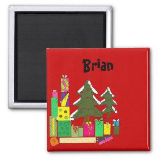 Christmas Name Tags Square Magnet