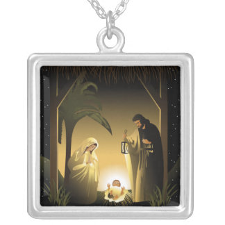 Christmas Nativity Mary, Joseph and Baby Jesus Silver Plated Necklace