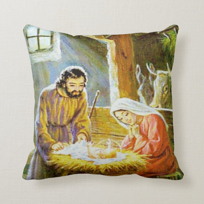 Throw Pillow Movie Scene : Christmas Nativity Scene Throw Pillow Zazzle