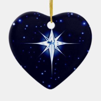 Christmas Nativity Star Ceramic Heart Decoration