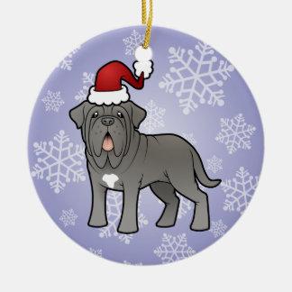 Christmas Neapolitan Mastiff Round Ceramic Decoration