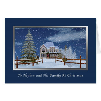 Christmas, Nephew and Family, Snowy Winter Scene Greeting Card