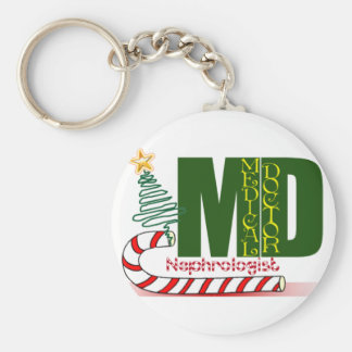 Christmas Nephrologist - Physician Specialist Basic Round Button Key Ring
