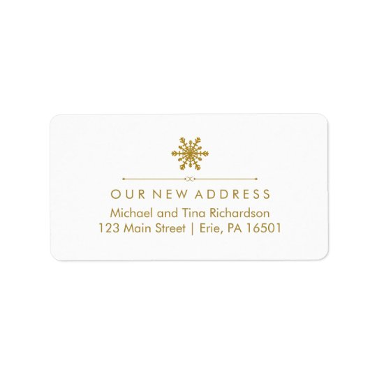 Christmas New Address Glam Gold Snowflake Address Label