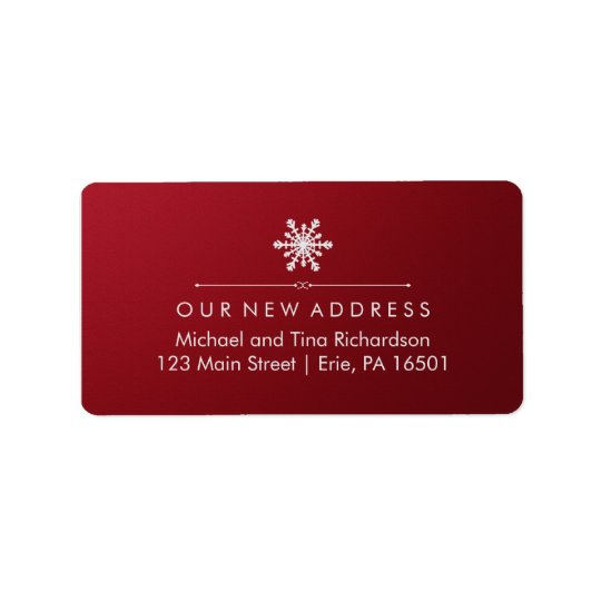 Christmas New Address on Elegant Red and Snowflake