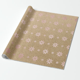 Christmas New Year Delicate Pink Stars Snow Wrapping Paper