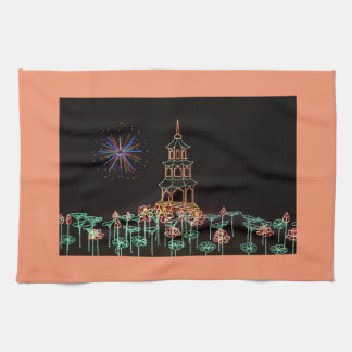 Christmas New Year Fireworks Flowers 2016 Kitchen Towels