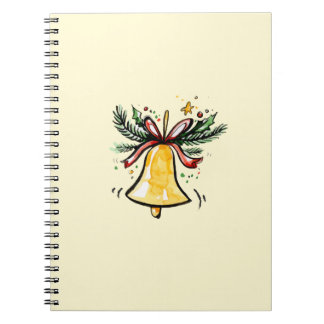 Christmas New Year Gift Yellow Jingle Bell Notebook