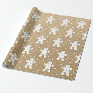 Christmas New Year Gingerbread Guy White Kraft Wrapping Paper