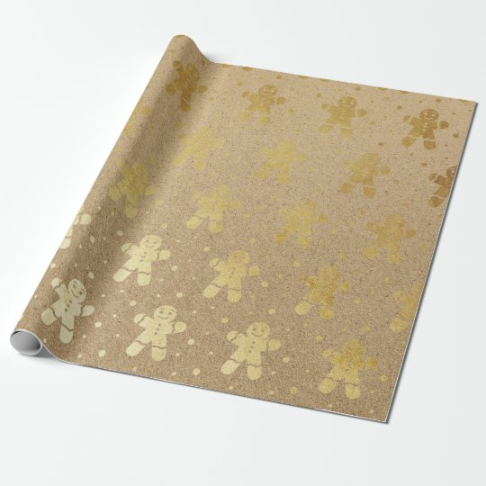 Christmas New Year Gold Gingerbread Man Kraft Wrapping