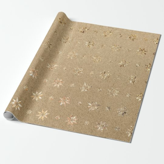 Christmas New Year Golden Glitter Stars Snow Wrapping
