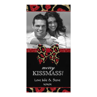 Christmas New Year Holiday Leopard Glitter Photo Photo Cards