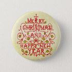 Christmas New Year Vintage Typography 6 Cm Round Badge