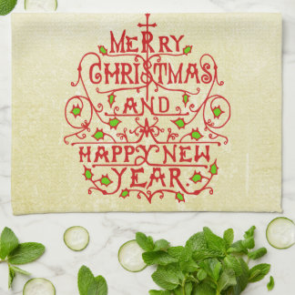 Christmas New Year Vintage Typography Hand Towel