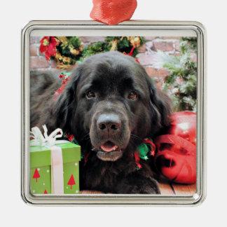 Christmas - Newfoundland - Izzie Silver-Colored Square Decoration