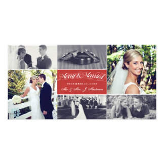 Christmas Newly Weds Merry & Married Photo Collage Photo Greeting Card