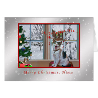 Christmas, Niece, Singing Cat, Snow Greeting Card
