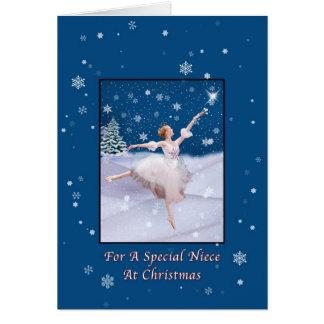 Christmas Niece Snow Queen Ballerina Card