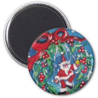 CHRISTMAS NIGHT CROWN WITH RED RIBBON 6 CM ROUND MAGNET