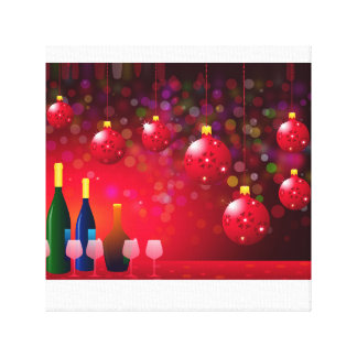 Christmas Night Party Stretched Canvas Print