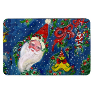 CHRISTMAS NIGHT / SANTA CLAUS AND TOYS, RED BOW RECTANGULAR PHOTO MAGNET