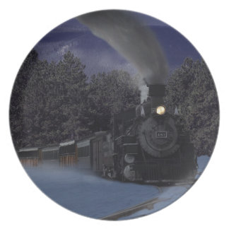 Christmas Night Train Plate