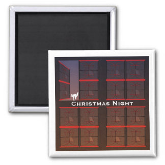 Christmas Night Twilight Open Window Square Magnet