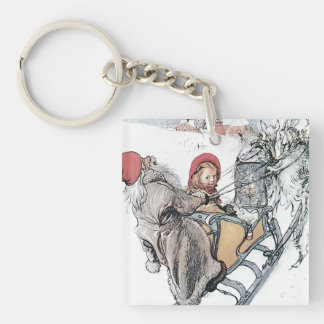 Christmas Nisse and Kirsti Double-Sided Square Acrylic Key Ring