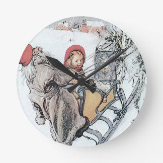 Christmas Nisse and Kirsti Round Clock
