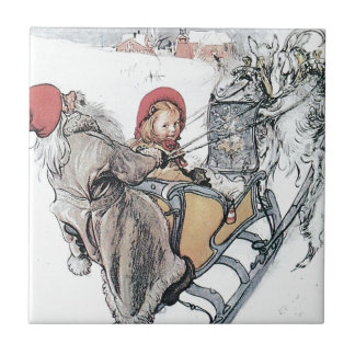 Christmas Nisse and Kirsti Small Square Tile