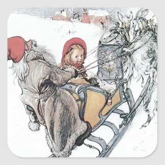 Christmas Nisse and Kirsti Square Sticker