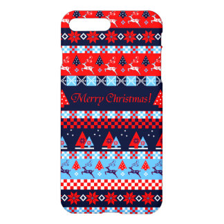 Christmas Nordic folk pattern Merry Christmas text iPhone 8 Plus/7 Plus Case