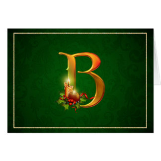 Christmas Notecard glowing lit candles initial B