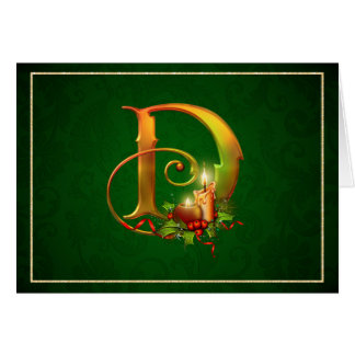 Christmas Notecard glowing lit candles initial D