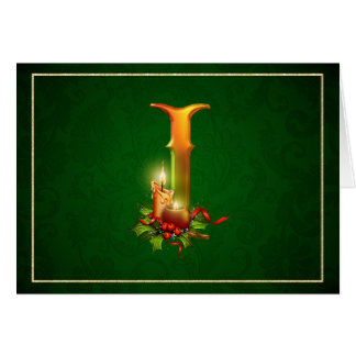"""Christmas Notecard glowing lit candles """"initial I"""""""