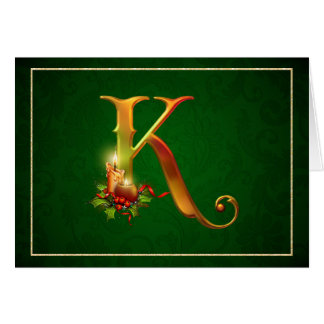 Christmas Notecard glowing lit candles initial K