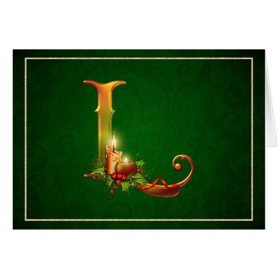 Christmas Notecard glowing lit candles initial L