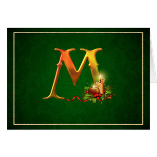 Christmas Notecard glowing lit candles initial M