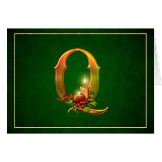 Christmas Notecard glowing lit candles initial Q