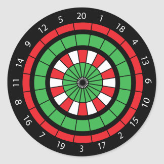 Christmas Numbered Dartboard Round Sticker