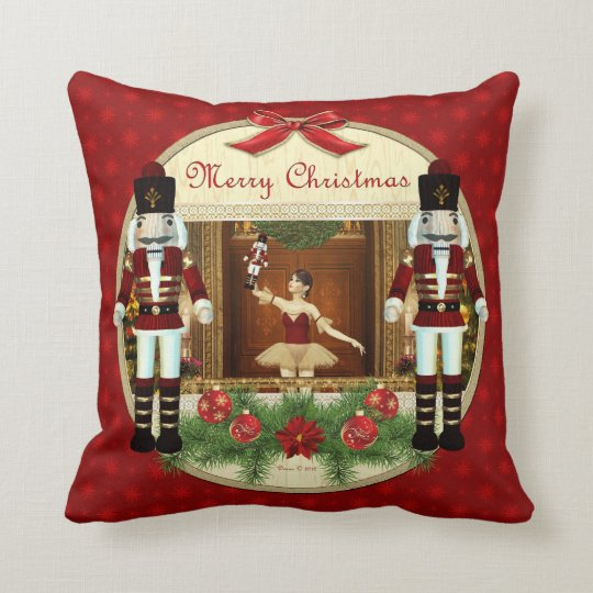 Christmas Nutcracker Ballerina Decorative Pillow