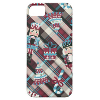 Christmas Nutcracker Plaid Blue Burgundy iPhone 5 Covers